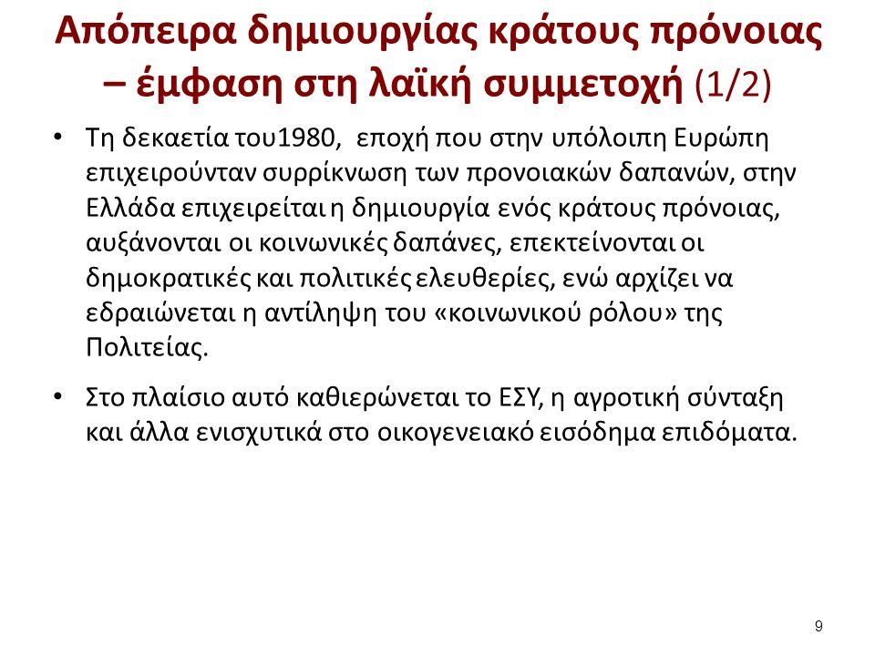 Απόπειρα δημιουργίας κράτους πρόνοιας – έμφαση στη λαϊκή συμμετοχή (1/2) Τη δεκαετία του1980, εποχή που στην υπόλοιπη Ευρώπη επιχειρούνταν συρρίκνωση των προνοιακών δαπανών, στην Ελλάδα επιχειρείται η δημιουργία ενός κράτους πρόνοιας, αυξάνονται οι κοινωνικές δαπάνες, επεκτείνονται οι δημοκρατικές και πολιτικές ελευθερίες, ενώ αρχίζει να εδραιώνεται η αντίληψη του «κοινωνικού ρόλου» της Πολιτείας.