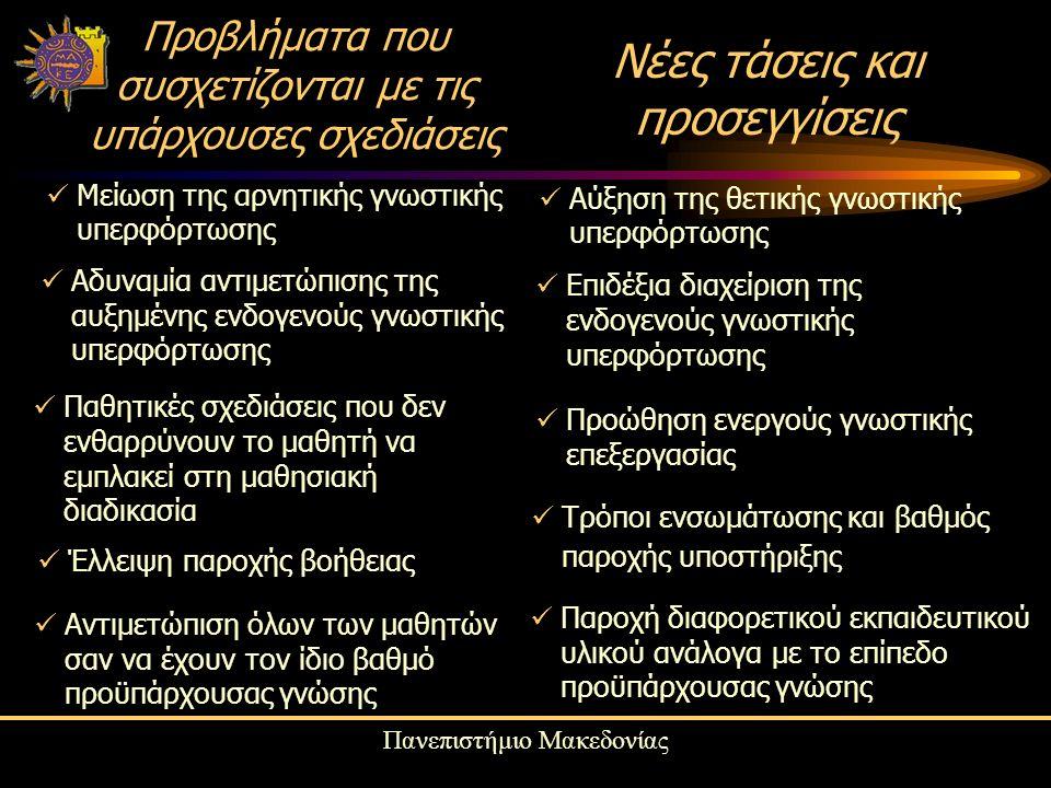 Πανεπιστήμιο Μακεδονίας Προβλήματα που συσχετίζονται με τις υπάρχουσες σχεδιάσεις Μείωση της αρνητικής γνωστικής υπερφόρτωσης Αύξηση της θετικής γνωστικής υπερφόρτωσης Νέες τάσεις και προσεγγίσεις Αδυναμία αντιμετώπισης της αυξημένης ενδογενούς γνωστικής υπερφόρτωσης Επιδέξια διαχείριση της ενδογενούς γνωστικής υπερφόρτωσης Παθητικές σχεδιάσεις που δεν ενθαρρύνουν το μαθητή να εμπλακεί στη μαθησιακή διαδικασία Προώθηση ενεργούς γνωστικής επεξεργασίας Έλλειψη παροχής βοήθειας Τρόποι ενσωμάτωσης και βαθμός παροχής υποστήριξης Αντιμετώπιση όλων των μαθητών σαν να έχουν τον ίδιο βαθμό προϋπάρχουσας γνώσης Παροχή διαφορετικού εκπαιδευτικού υλικού ανάλογα με το επίπεδο προϋπάρχουσας γνώσης