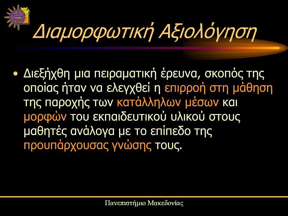 Πανεπιστήμιο Μακεδονίας Διαμορφωτική Αξιολόγηση Διεξήχθη μια πειραματική έρευνα, σκοπός της οποίας ήταν να ελεγχθεί η επιρροή στη μάθηση της παροχής των κατάλληλων μέσων και μορφών του εκπαιδευτικού υλικού στους μαθητές ανάλογα με το επίπεδο της προυπάρχουσας γνώσης τους.