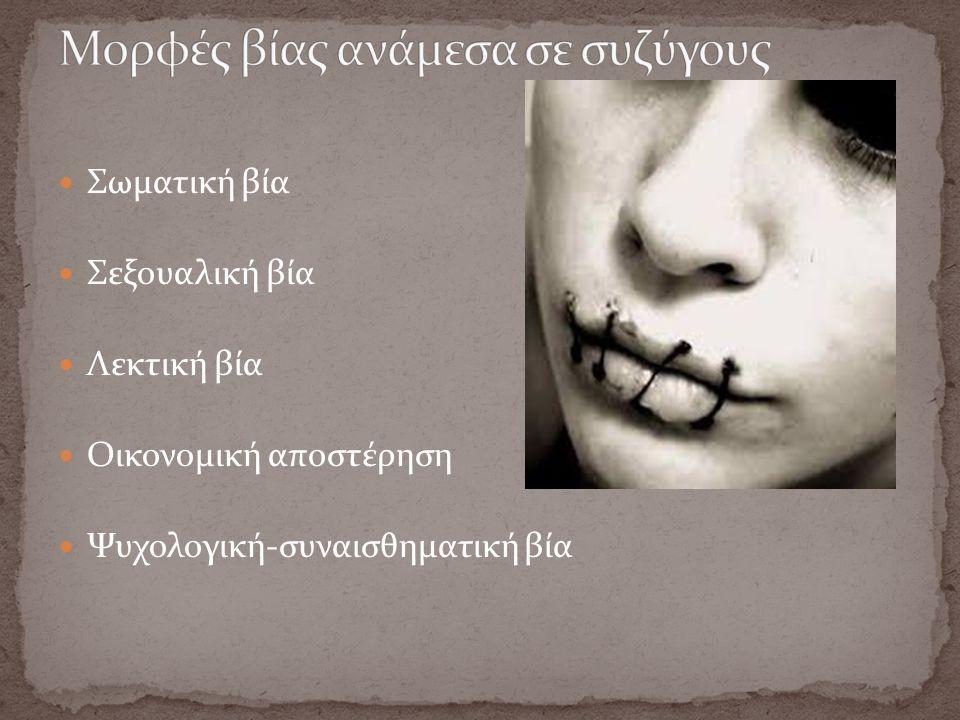 Σωματική βία Σεξουαλική βία Λεκτική βία Οικονομική αποστέρηση Ψυχολογική-συναισθηματική βία