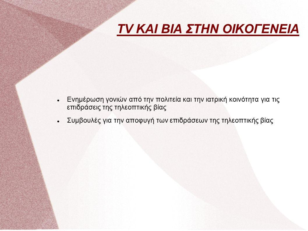 Ενημέρωση γονιών από την πολιτεία και την ιατρική κοινότητα για τις επιδράσεις της τηλεοπτικής βίας Συμβουλές για την αποφυγή των επιδράσεων της τηλεοπτικής βίας