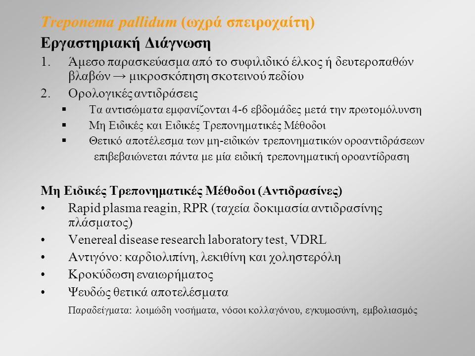 Treponema pallidum (ωχρά σπειροχαίτη) Εργαστηριακή Διάγνωση 1.Άμεσο παρασκεύασμα από το συφιλιδικό έλκος ή δευτεροπαθών βλαβών → μικροσκόπηση σκοτεινού πεδίου 2.Ορολογικές αντιδράσεις  Τα αντισώματα εμφανίζονται 4-6 εβδομάδες μετά την πρωτομόλυνση  Mη Ειδικές και Ειδικές Τρεπονηματικές Μέθοδοι  Θετικό αποτέλεσμα των μη-ειδικών τρεπονηματικών οροαντιδράσεων επιβεβαιώνεται πάντα με μία ειδική τρεπονηματική οροαντίδραση Mη Ειδικές Τρεπονηματικές Μέθοδοι (Αντιδρασίνες) Rapid plasma reagin, RPR (ταχεία δοκιμασία αντιδρασίνης πλάσματος) Venereal disease research laboratory test, VDRL Αντιγόνο: καρδιολιπίνη, λεκιθίνη και χοληστερόλη Κροκύδωση εναιωρήματος Ψευδώς θετικά αποτελέσματα Παραδείγματα: λοιμώδη νοσήματα, νόσοι κολλαγόνου, εγκυμοσύνη, εμβολιασμός