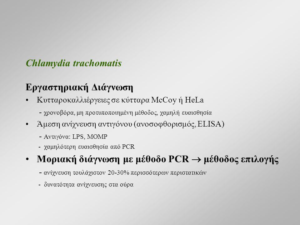 Chlamydia trachomatis Εργαστηριακή Διάγνωση Κυτταροκαλλιέργειες σε κύτταρα McCoy ή HeLa - χρονοβόρα, μη προτυποποιημένη μέθοδος, χαμηλή ευαισθησία Άμεση ανίχνευση αντιγόνου (ανοσοφθορισμός, ELISA) - Αντιγόνα: LPS, MOMP - χαμηλότερη ευαισθησία από PCR Μοριακή διάγνωση με μέθοδο PCR  μέθοδος επιλογής - ανίχνευση τουλάχιστον 20-30% περισσότερων περιστατικών - δυνατότητα ανίχνευσης στα ούρα