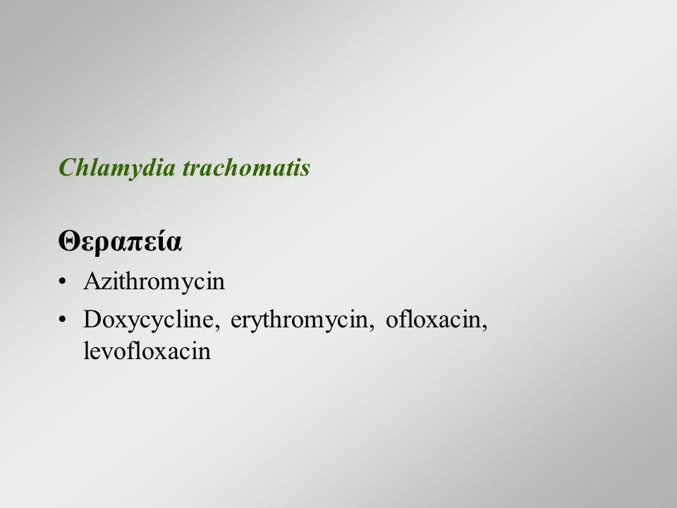 Chlamydia trachomatis Θεραπεία Azithromycin Doxycycline, erythromycin, ofloxacin, levofloxacin