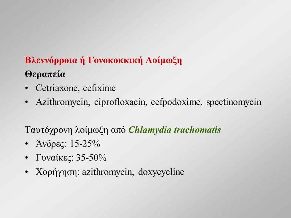 Βλεννόρροια ή Γονοκοκκική Λοίμωξη Θεραπεία Cetriaxone, cefixime Azithromycin, ciprofloxacin, cefpodoxime, spectinomycin Ταυτόχρονη λοίμωξη από Chlamyd