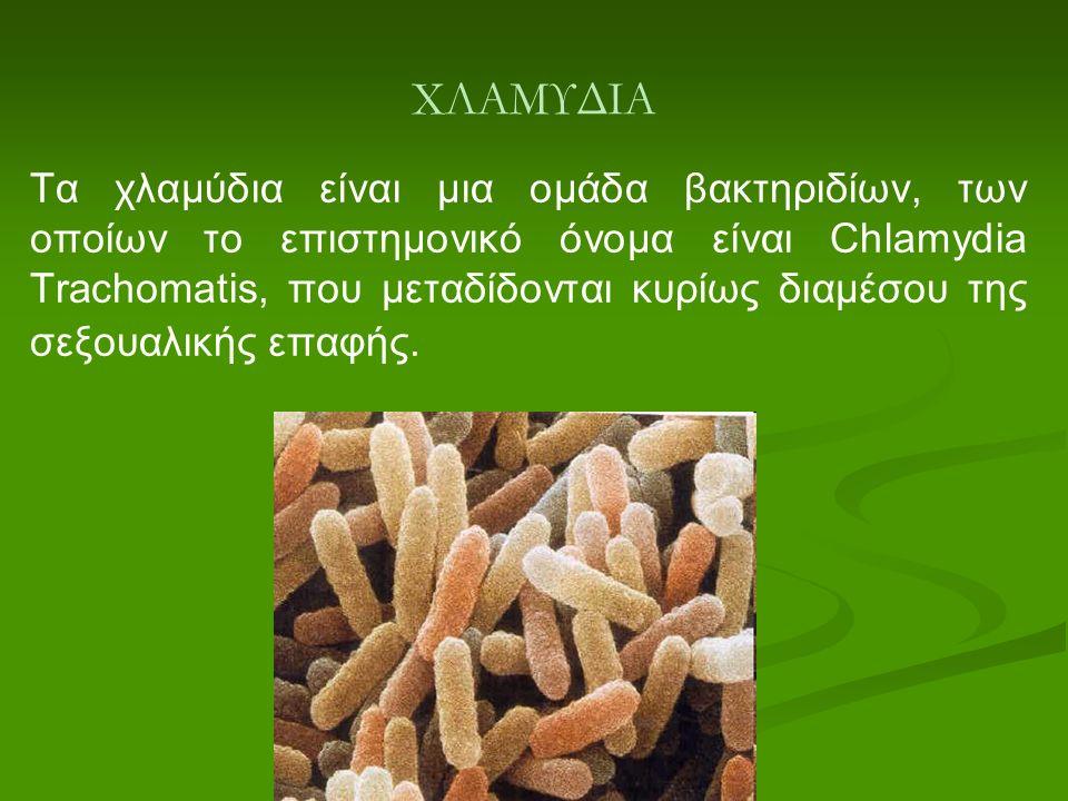 ΧΛΑΜΥΔΙΑ Τα χλαμύδια είναι μια ομάδα βακτηριδίων, των οποίων το επιστημονικό όνομα είναι Chlamydia Trachomatis, που μεταδίδονται κυρίως διαμέσου της σ