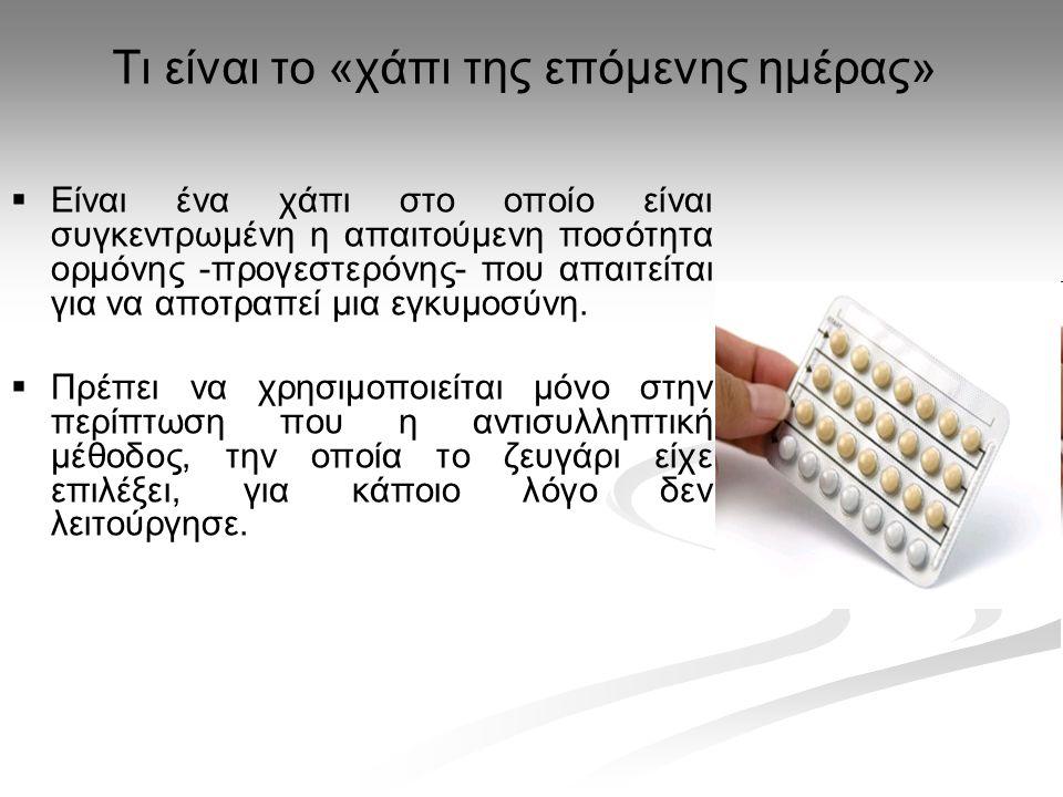 Τι είναι το «χάπι της επόμενης ημέρας»   Είναι ένα χάπι στο οποίο είναι συγκεντρωμένη η απαιτούμενη ποσότητα ορμόνης -προγεστερόνης- που απαιτείται