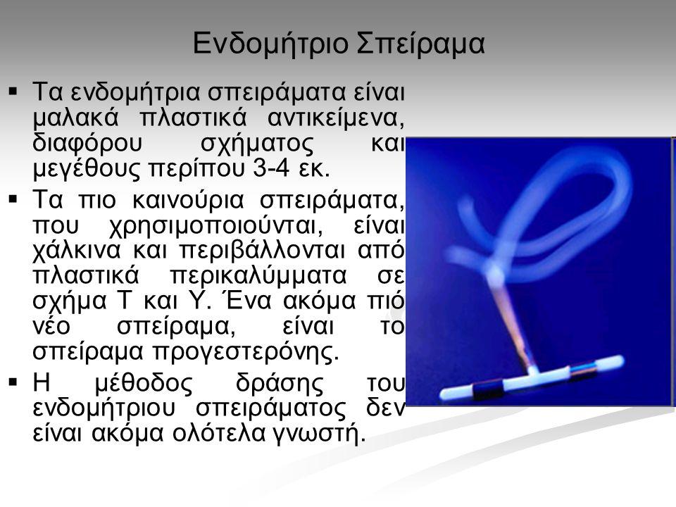 Ενδομήτριο Σπείραμα   Τα ενδομήτρια σπειράματα είναι μαλακά πλαστικά αντικείμενα, διαφόρου σχήματος και μεγέθους περίπου 3-4 εκ.   Τα πιο καινούρι