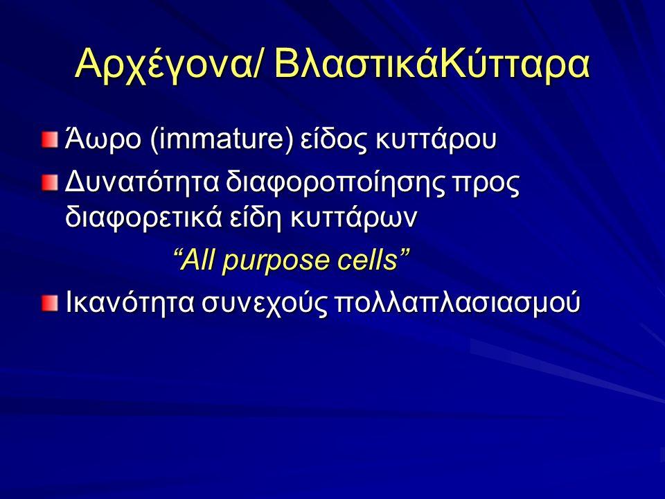 Αρχέγονα/ ΒλαστικάΚύτταρα Άωρο (immature) είδος κυττάρου Δυνατότητα διαφοροποίησης προς διαφορετικά είδη κυττάρων All purpose cells All purpose cells Ικανότητα συνεχούς πολλαπλασιασμού