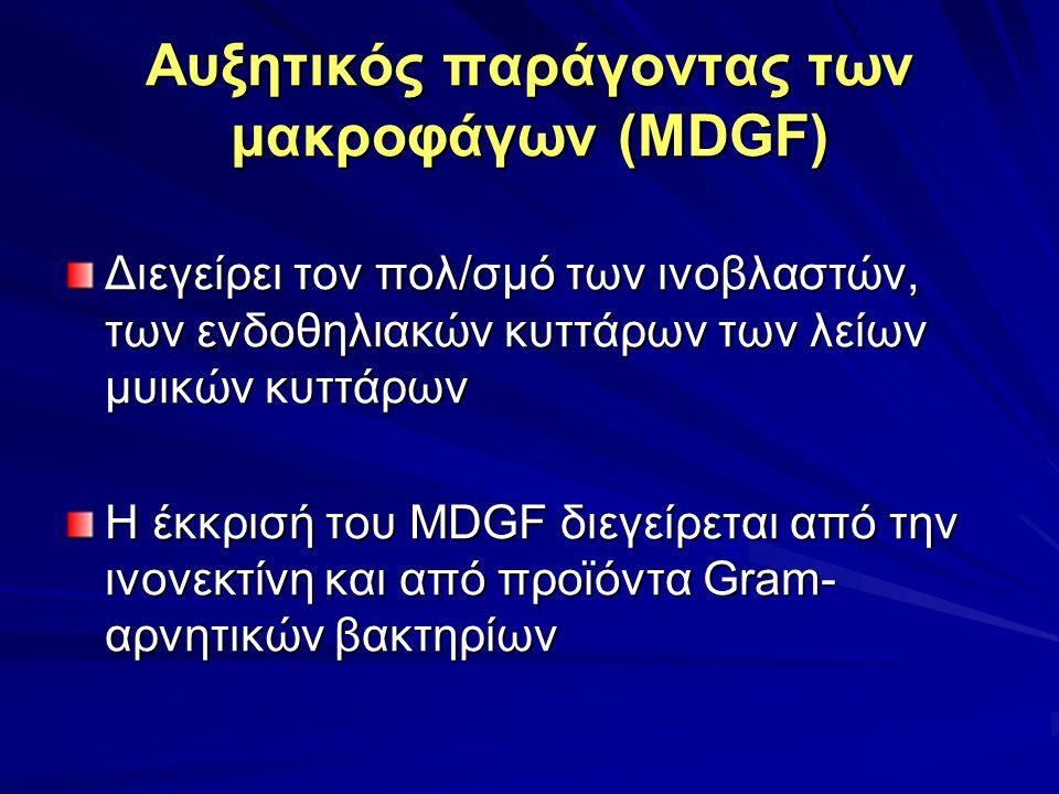 Αυξητικός παράγοντας των μακροφάγων (MDGF) Διεγείρει τον πολ/σμό των ινοβλαστών, των ενδοθηλιακών κυττάρων των λείων μυικών κυττάρων Η έκκρισή του MDGF διεγείρεται από την ινονεκτίνη και από προϊόντα Gram- αρνητικών βακτηρίων
