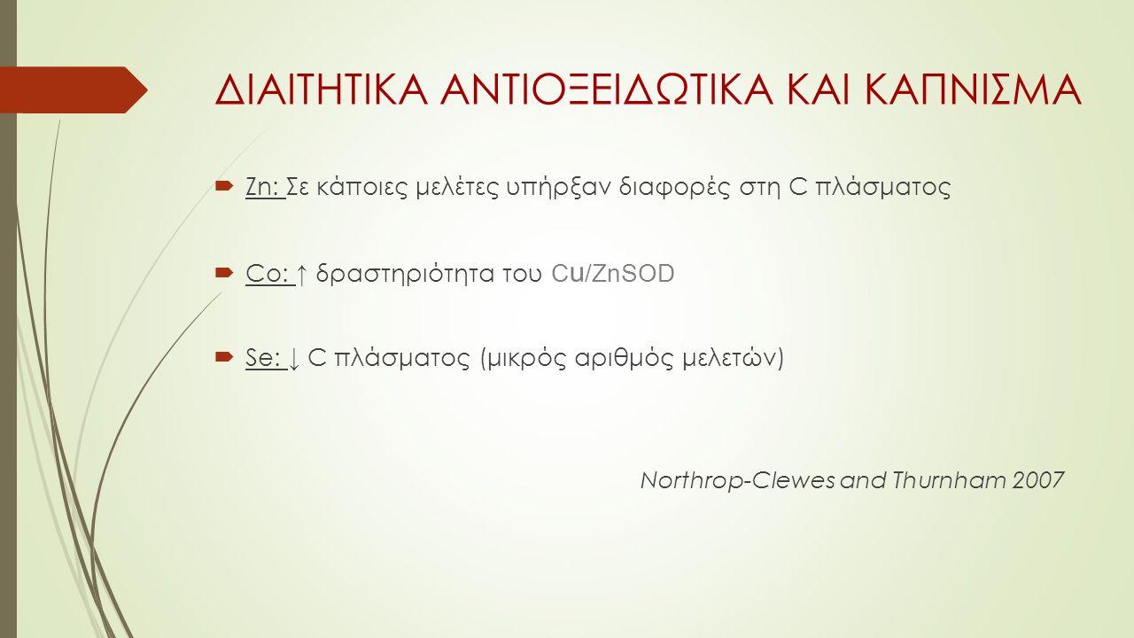 ΔΙΑΙΤΗΤΙΚΑ ΑΝΤΙΟΞΕΙΔΩΤΙΚΑ ΚΑΙ ΚΑΠΝΙΣΜΑ  Zn: Σε κάποιες μελέτες υπήρξαν διαφορές στη C πλάσματος  Co: ↑ δραστηριότητα του C u /ZnSOD  Se: ↓ C πλάσματος (μικρός αριθμός μελετών) Northrop-Clewes and Thurnham 2007