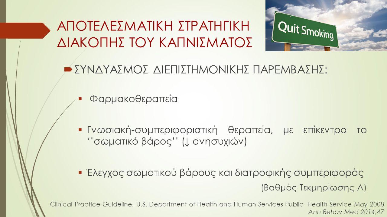  ΣΥΝΔΥΑΣΜΟΣ ΔΙΕΠΙΣΤΗΜΟΝΙΚΗΣ ΠΑΡΕΜΒΑΣΗΣ:  Φαρμακοθεραπεία  Γνωσιακή-συμπεριφοριστική θεραπεία, με επίκεντρο το ''σωματικό βάρος'' (↓ ανησυχιών)  Έλεγχος σωματικού βάρους και διατροφικής συμπεριφοράς (Βαθμός Τεκμηρίωσης A) ΑΠΟΤΕΛΕΣΜΑΤΙΚΗ ΣΤΡΑΤΗΓΙΚΗ ΔΙΑΚΟΠΗΣ ΤΟΥ ΚΑΠΝΙΣΜΑΤΟΣ Clinical Practice Guideline, U.S.