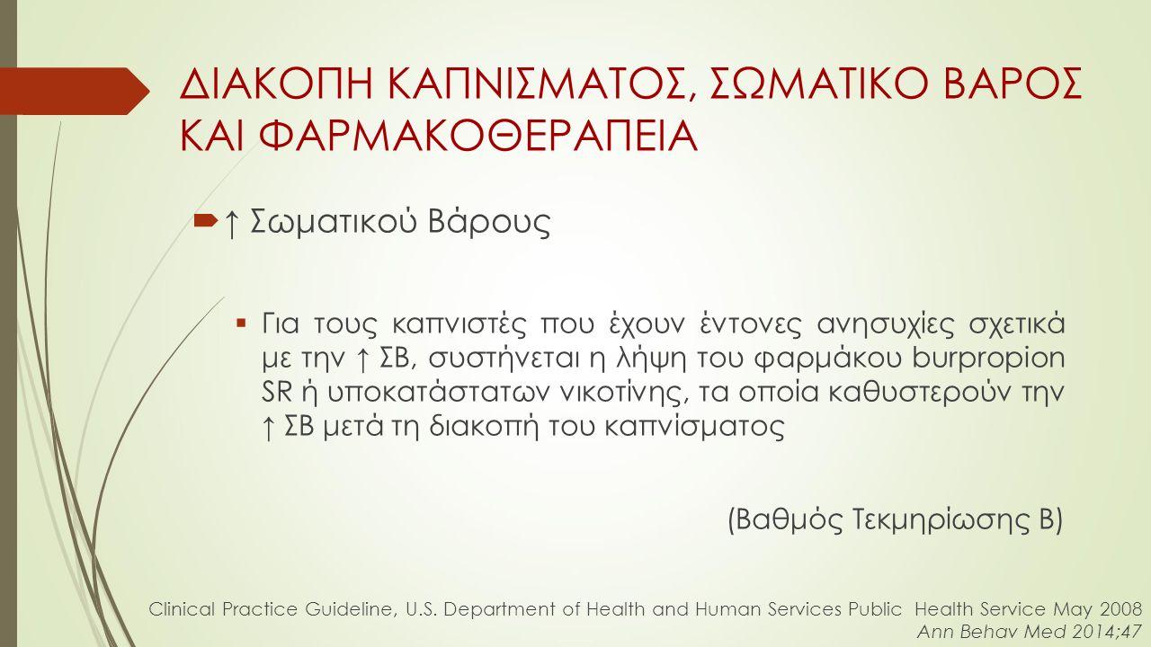  ↑ Σωματικού Βάρους  Για τους καπνιστές που έχουν έντονες ανησυχίες σχετικά με την ↑ ΣΒ, συστήνεται η λήψη του φαρμάκου burpropion SR ή υποκατάστατων νικοτίνης, τα οποία καθυστερούν την ↑ ΣΒ μετά τη διακοπή του καπνίσματος (Βαθμός Τεκμηρίωσης Β) ΔΙΑΚΟΠΗ ΚΑΠΝΙΣΜΑΤΟΣ, ΣΩΜΑΤΙΚΟ ΒΑΡΟΣ ΚΑΙ ΦΑΡΜΑΚΟΘΕΡΑΠΕΙΑ Clinical Practice Guideline, U.S.