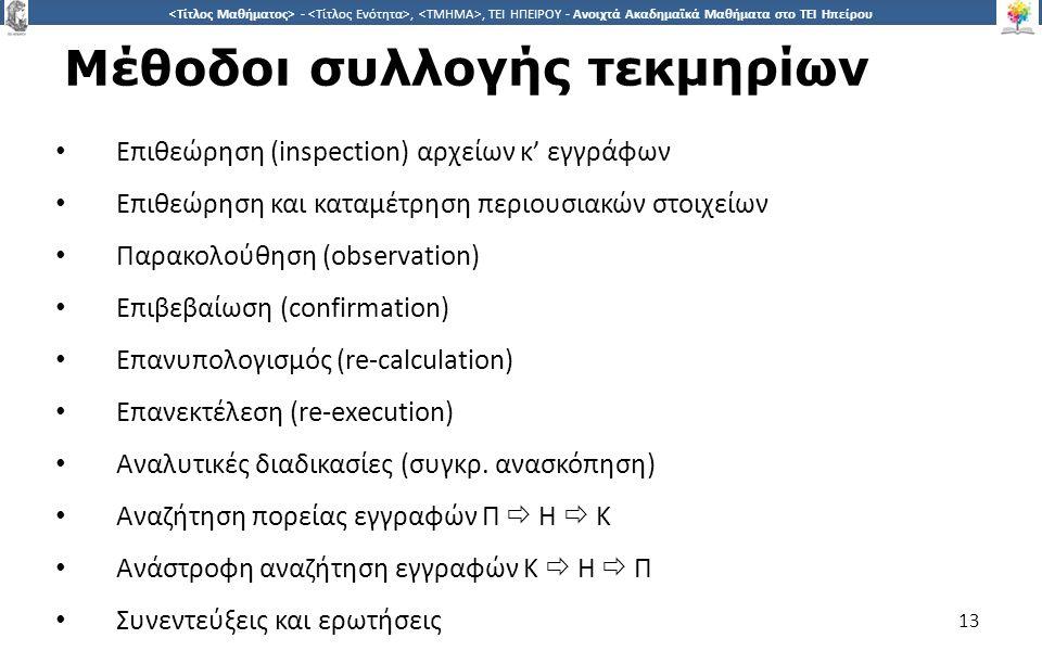1313 -,, ΤΕΙ ΗΠΕΙΡΟΥ - Ανοιχτά Ακαδημαϊκά Μαθήματα στο ΤΕΙ Ηπείρου Μέθοδοι συλλογής τεκμηρίων Επιθεώρηση (inspection) αρχείων κ' εγγράφων Επιθεώρηση κ