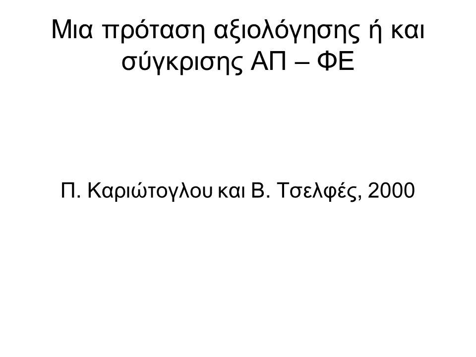 Μια πρόταση αξιολόγησης ή και σύγκρισης ΑΠ – ΦΕ Π. Καριώτογλου και Β. Τσελφές, 2000