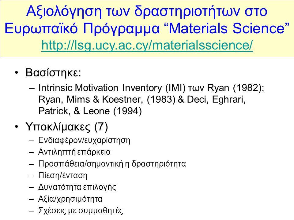 Βασίστηκε: –Intrinsic Motivation Inventory (IMI) των Ryan (1982); Ryan, Mims & Koestner, (1983) & Deci, Eghrari, Patrick, & Leone (1994) Υποκλίμακες (7) –Ενδιαφέρον/ευχαρίστηση –Αντιληπτή επάρκεια –Προσπάθεια/σημαντική η δραστηριότητα –Πίεση/ένταση –Δυνατότητα επιλογής –Αξία/χρησιμότητα –Σχέσεις με συμμαθητές Αξιολόγηση των δραστηριοτήτων στο Ευρωπαϊκό Πρόγραμμα Materials Science http://lsg.ucy.ac.cy/materialsscience/ http://lsg.ucy.ac.cy/materialsscience/