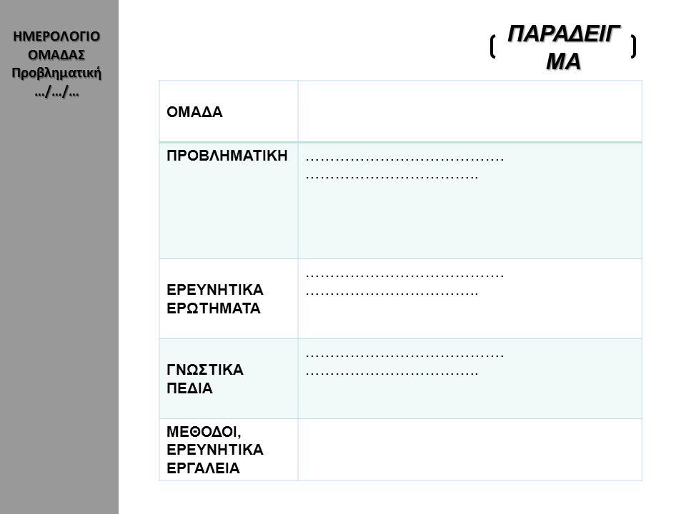 ΗΜΕΡΟΛΟΓΙΟ ΟΜΑΔΑΣ Ερευνητική Δραστηριότητα Ημερομηνία…../…./….
