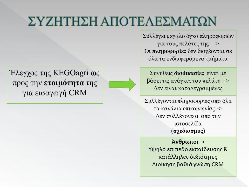 Έλεγχος της KEGOagri ως προς την ετοιμότητα της για εισαγωγή CRM Συλλέγει μεγάλο όγκο πληροφοριών για τους πελάτες της -> Οι πληροφορίες δεν διαχέονται σε όλα τα ενδιαφερόμενα τμήματα Συνήθεις διαδικασίες είναι με βάσει τις ανάγκες του πελάτη -> Δεν είναι καταγεγραμμένες Συλλέγονται πληροφορίες από όλα τα κανάλια επικοινωνίας -> Δεν συλλέγονται από την ιστοσελίδα (σχεδιασμός) Άνθρωποι -> Υψηλό επίπεδο εκπαίδευσης & κατάλληλες δεξιότητες Διοίκηση βαθιά γνώση CRM