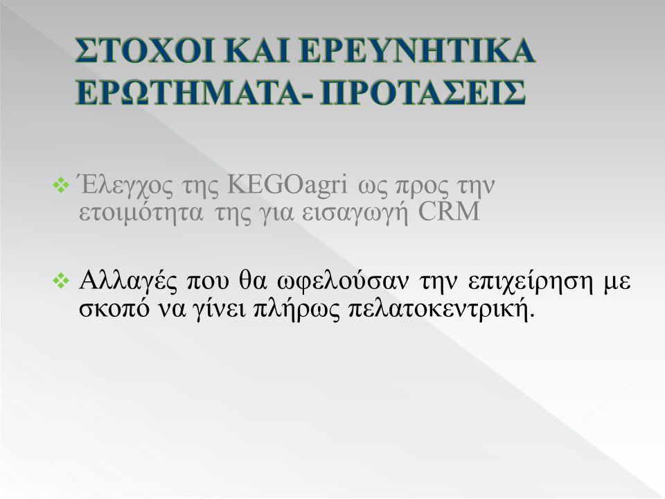  Έλεγχος της KEGOagri ως προς την ετοιμότητα της για εισαγωγή CRM  Αλλαγές που θα ωφελούσαν την επιχείρηση με σκοπό να γίνει πλήρως πελατοκεντρική.