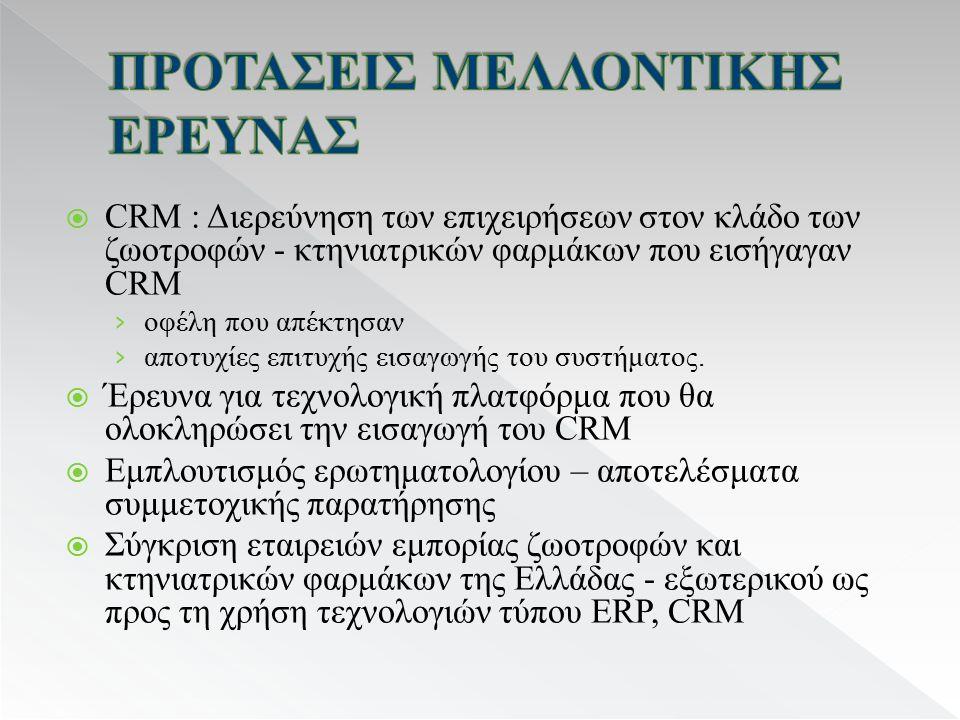  CRM : Διερεύνηση των επιχειρήσεων στον κλάδο των ζωοτροφών - κτηνιατρικών φαρμάκων που εισήγαγαν CRM › οφέλη που απέκτησαν › αποτυχίες επιτυχής εισαγωγής του συστήματος.