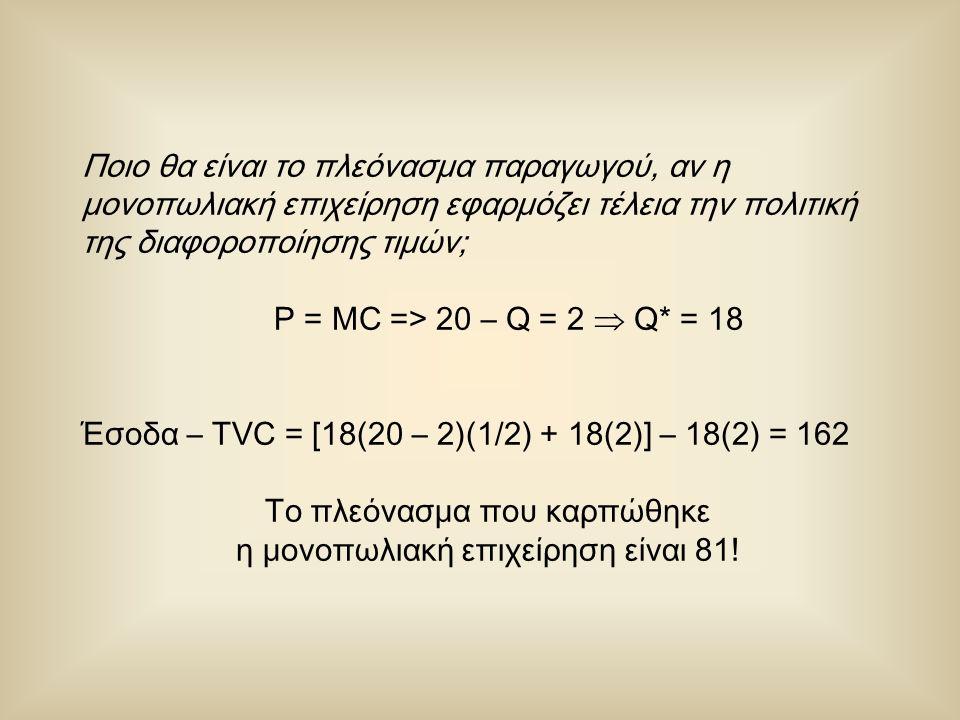 Ποιο θα είναι το πλεόνασμα παραγωγού, αν η μονοπωλιακή επιχείρηση εφαρμόζει τέλεια την πολιτική της διαφοροποίησης τιμών; P = MC => 20 – Q = 2  Q* = 18 Έσοδα – TVC = [18(20 – 2)(1/2) + 18(2)] – 18(2) = 162 Το πλεόνασμα που καρπώθηκε η μονοπωλιακή επιχείρηση είναι 81!