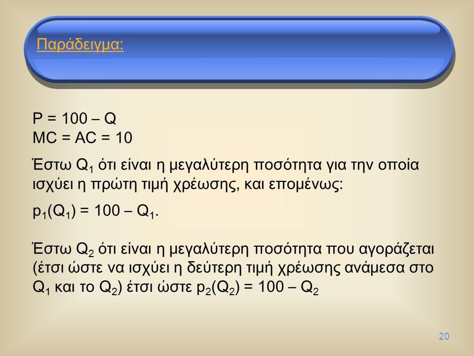 20 P = 100 – Q MC = AC = 10 Έστω Q 1 ότι είναι η μεγαλύτερη ποσότητα για την οποία ισχύει η πρώτη τιμή χρέωσης, και επομένως: p 1 (Q 1 ) = 100 – Q 1.