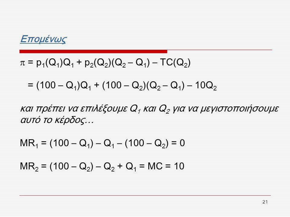 21 Επομένως  = p 1 (Q 1 )Q 1 + p 2 (Q 2 )(Q 2 – Q 1 ) – TC(Q 2 ) = (100 – Q 1 )Q 1 + (100 – Q 2 )(Q 2 – Q 1 ) – 10Q 2 και πρέπει να επιλέξουμε Q 1 και Q 2 για να μεγιστοποιήσουμε αυτό το κέρδος… MR 1 = (100 – Q 1 ) – Q 1 – (100 – Q 2 ) = 0 MR 2 = (100 – Q 2 ) – Q 2 + Q 1 = MC = 10