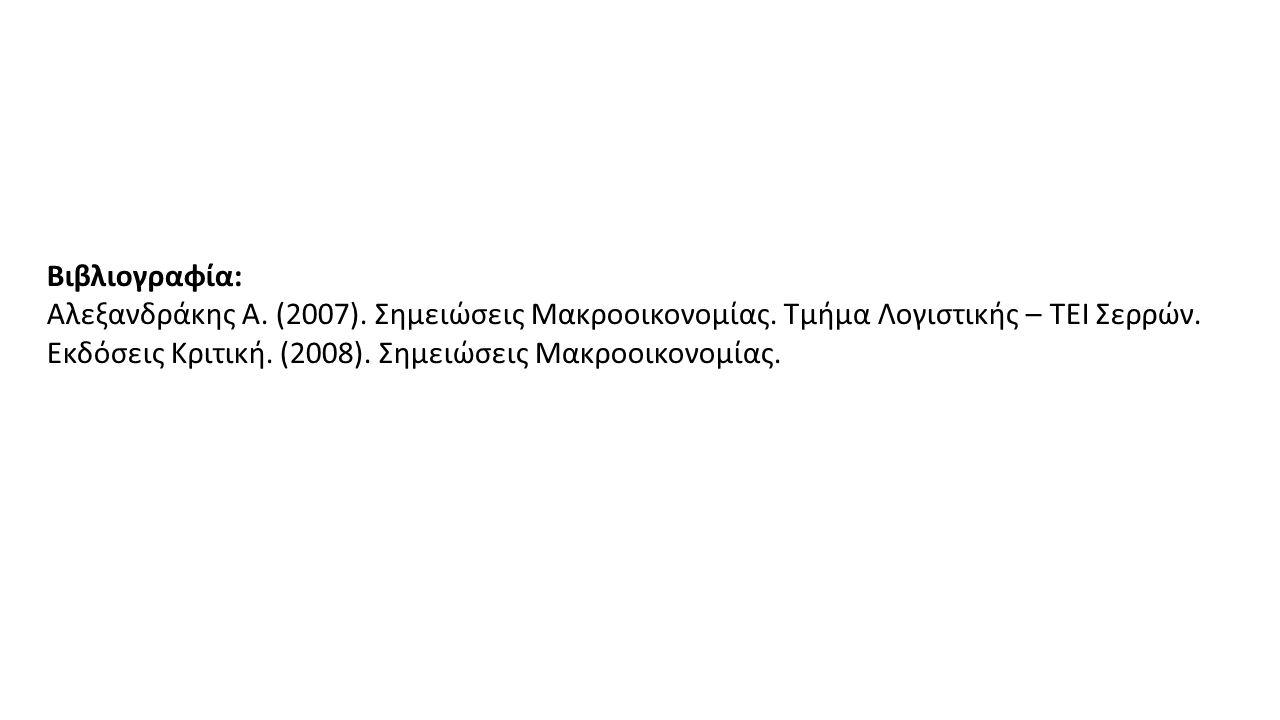 Βιβλιογραφία: Αλεξανδράκης Α. (2007). Σημειώσεις Μακροοικονομίας.