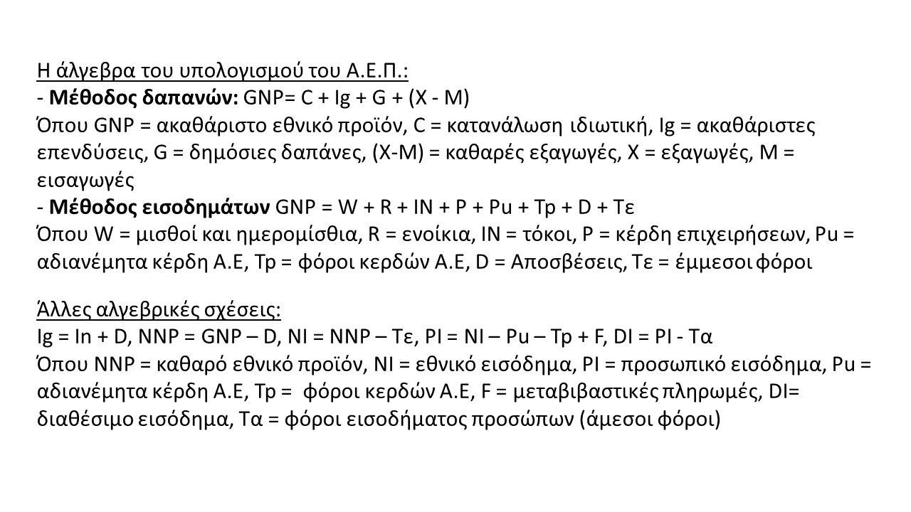 Η άλγεβρα του υπολογισμού του Α.Ε.Π.: - Μέθοδος δαπανών: GNP= C + Ig + G + (X - M) Όπου GNP = ακαθάριστο εθνικό προϊόν, C = κατανάλωση ιδιωτική, Ig = ακαθάριστες επενδύσεις, G = δημόσιες δαπάνες, (Χ-Μ) = καθαρές εξαγωγές, Χ = εξαγωγές, Μ = εισαγωγές - Μέθοδος εισοδημάτων GNP = W + R + IN + P + Pu + Tp + D + Tε Όπου W = μισθοί και ημερομίσθια, R = ενοίκια, IN = τόκοι, P = κέρδη επιχειρήσεων, Pu = αδιανέμητα κέρδη Α.Ε, Tp = φόροι κερδών Α.Ε, D = Αποσβέσεις, Tε = έμμεσοι φόροι Άλλες αλγεβρικές σχέσεις: Ig = In + D, NNP = GNP – D, NI = NNP – Tε, PI = NI – Pu – Tp + F, DI = PI - Tα Όπου ΝΝP = καθαρό εθνικό προϊόν, NI = εθνικό εισόδημα, PI = προσωπικό εισόδημα, Pu = αδιανέμητα κέρδη Α.Ε, Tp = φόροι κερδών Α.Ε, F = μεταβιβαστικές πληρωμές, DI= διαθέσιμο εισόδημα, Tα = φόροι εισοδήματος προσώπων (άμεσοι φόροι)
