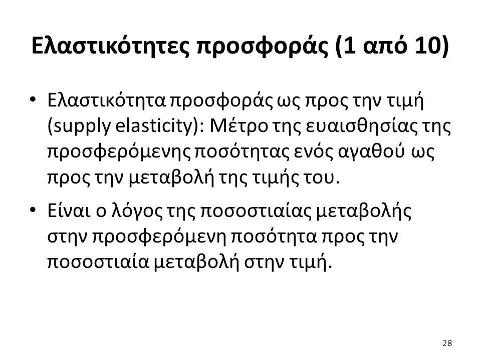 Ελαστικότητες προσφοράς (1 από 10) Ελαστικότητα προσφοράς ως προς την τιμή (supply elasticity): Μέτρο της ευαισθησίας της προσφερόμενης ποσότητας ενός αγαθού ως προς την μεταβολή της τιμής του.