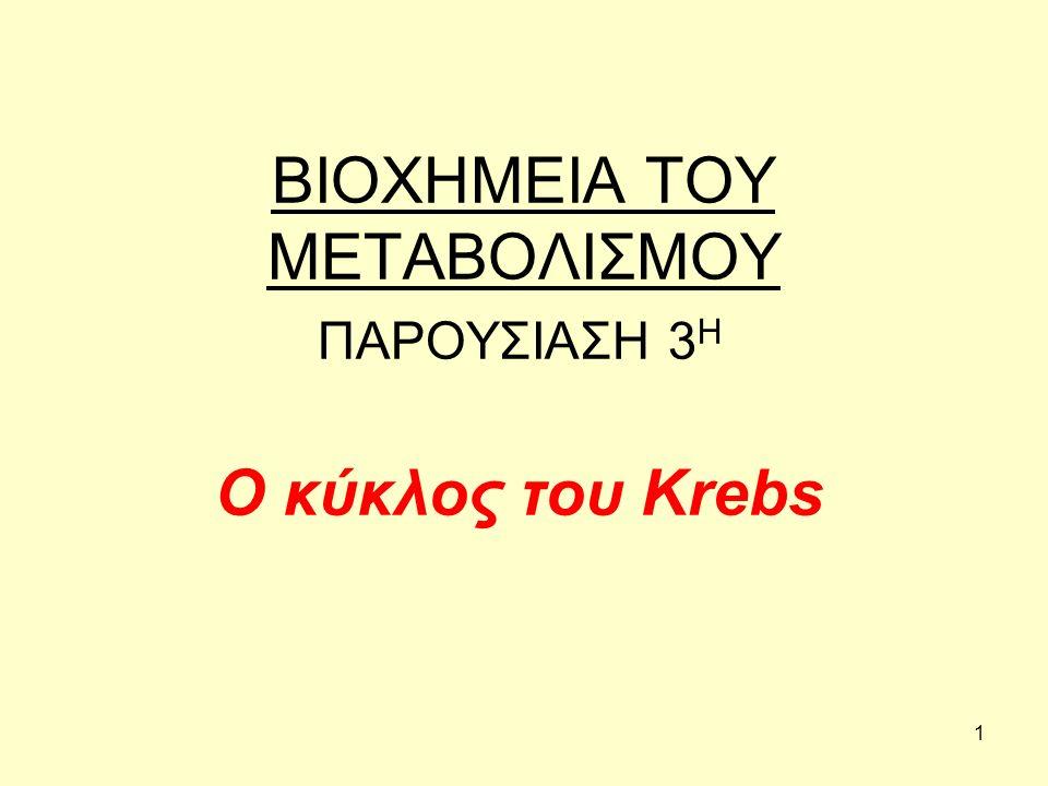 1 ΒΙΟΧΗΜΕΙΑ ΤΟΥ ΜΕΤΑΒΟΛΙΣΜΟΥ ΠΑΡΟΥΣΙΑΣΗ 3 Η Ο κύκλος του Krebs