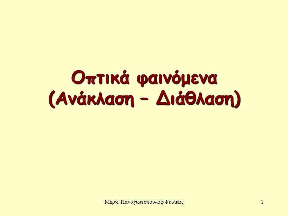 Μερκ. Παναγιωτόπουλος-Φυσικός1 Οπτικά φαινόμενα (Ανάκλαση – Διάθλαση)