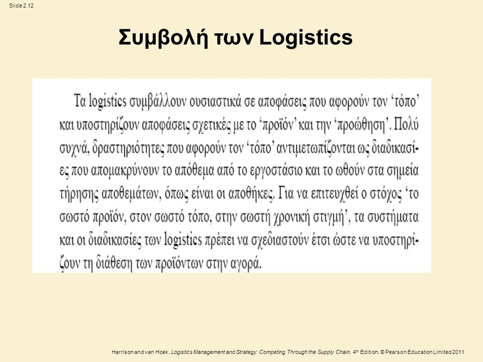 Slide 2.13 Harrison and van Hoek, Logistics Management and Strategy: Competing Through the Supply Chain, 4 th Edition, © Pearson Education Limited 2011 Πίνακας 2.2 Σύγκριση ανάμεσα στο μάρκετινγκ καταναλωτή και στο βιομηχανικό μάρκετινγκ