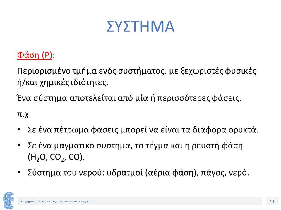 11 Γεωχημικές διεργασίες στο εσωτερικό της γης ΣΥΣΤΗΜΑ Φάση (P): Περιορισμένο τμήμα ενός συστήματος, με ξεχωριστές φυσικές ή/και χημικές ιδιότητες. Έν