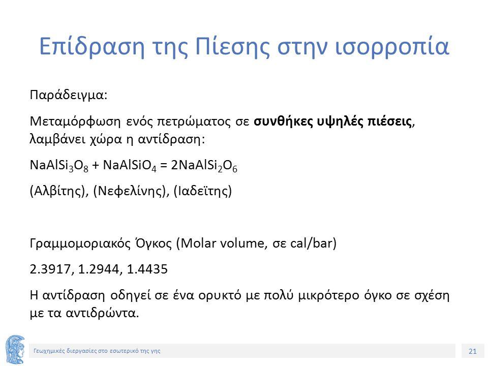 21 Γεωχημικές διεργασίες στο εσωτερικό της γης Επίδραση της Πίεσης στην ισορροπία Παράδειγμα: Μεταμόρφωση ενός πετρώματος σε συνθήκες υψηλές πιέσεις, λαμβάνει χώρα η αντίδραση: NaAlSi 3 O 8 + NaAlSiO 4 = 2NaAlSi 2 O 6 (Αλβίτης), (Νεφελίνης), (Ιαδεϊτης) Γραμμομοριακός Όγκος (Molar volume, σε cal/bar) 2.3917, 1.2944, 1.4435 Η αντίδραση οδηγεί σε ένα ορυκτό με πολύ μικρότερο όγκο σε σχέση με τα αντιδρώντα.