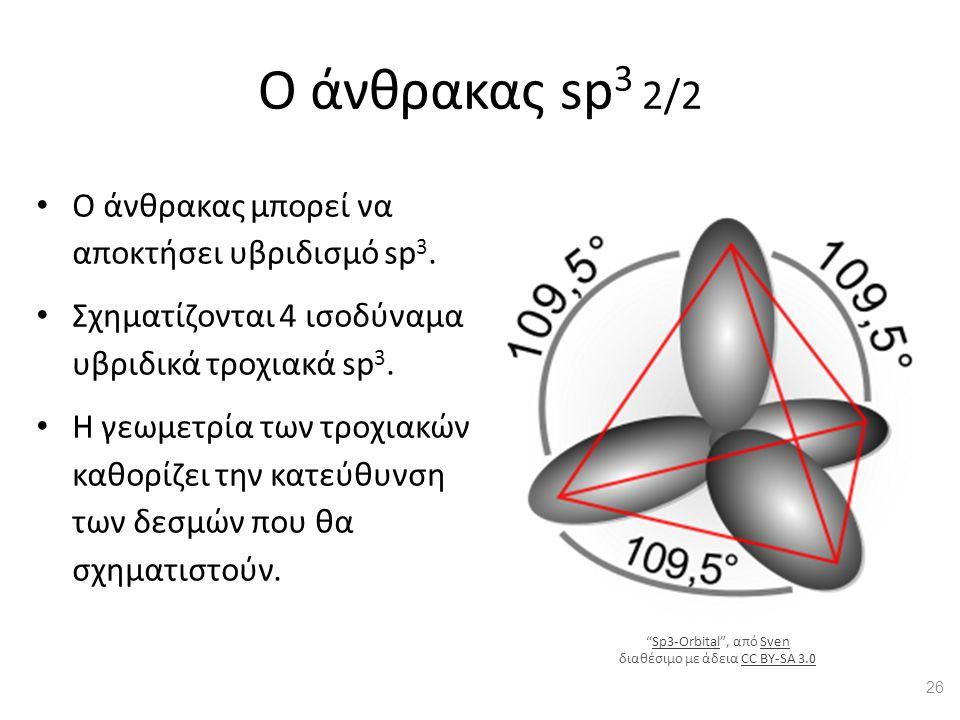 Ο άνθρακας sp 3 2/2 Ο άνθρακας μπορεί να αποκτήσει υβριδισμό sp 3. Σχηματίζονται 4 ισοδύναμα υβριδικά τροχιακά sp 3. Η γεωμετρία των τροχιακών καθορίζ