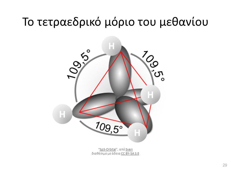 """Το τετραεδρικό μόριο του μεθανίου H H H H 29 """"Sp3-Orbital"""", από Sven διαθέσιμο με άδεια CC BY-SA 3.0Sp3-OrbitalSvenCC BY-SA 3.0"""