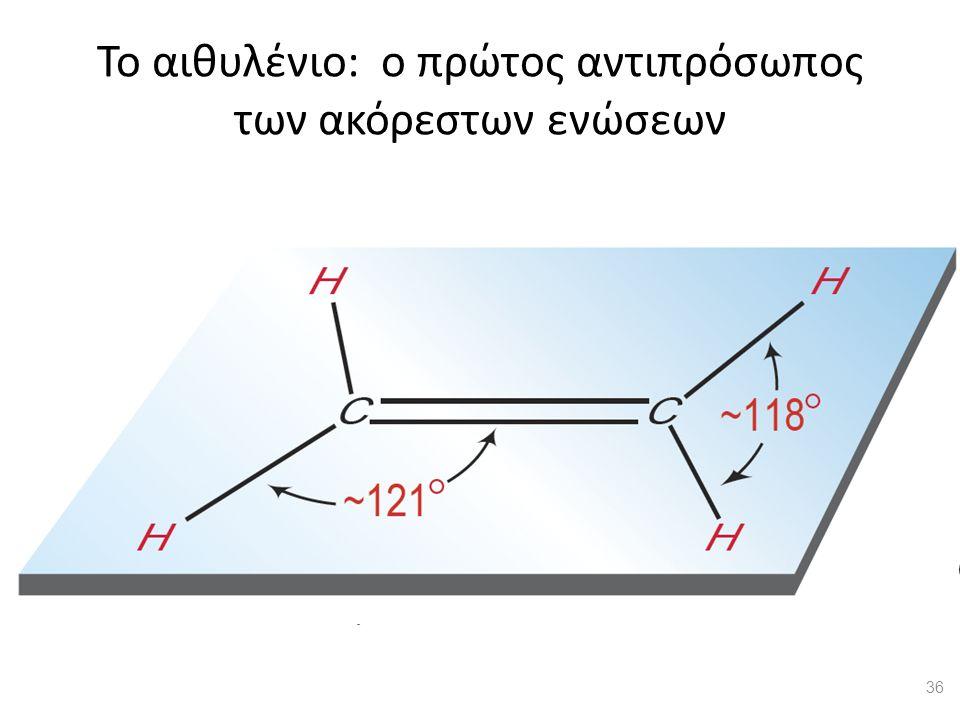 Το αιθυλένιο: ο πρώτος αντιπρόσωπος των ακόρεστων ενώσεων Το μόριο του αιθυλενίου 36