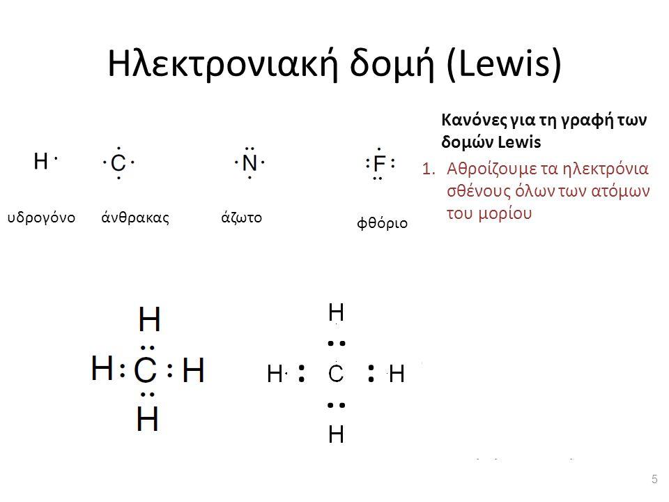 Ηλεκτρονιακή δομή (Lewis) Κανόνες για τη γραφή των δομών Lewis 1.Αθροίζουμε τα ηλεκτρόνια σθένους όλων των ατόμων του μορίου 2.Συνδέουμε τα άτομα με γραμμές (=δεσμούς) 3.Σε κάθε δεσμό καταλογίζουμε 2 ηλεκτρόνια.
