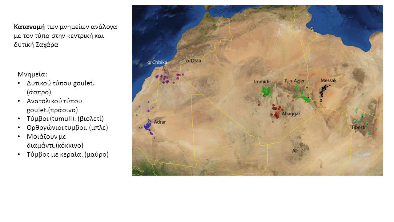 Κατανομή των μνημείων ανάλογα με τον τύπο στην κεντρική και δυτική Σαχάρα Μνημεία: Δυτικού τύπου goulet.