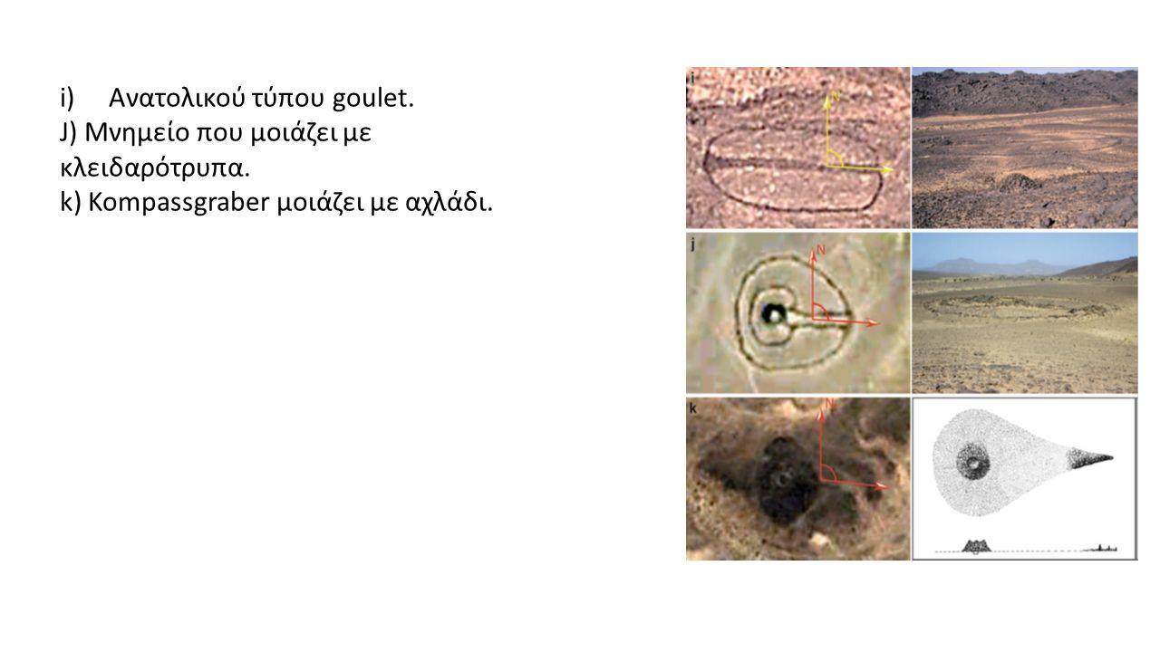 i)Ανατολικού τύπου goulet. J) Μνημείο που μοιάζει με κλειδαρότρυπα.