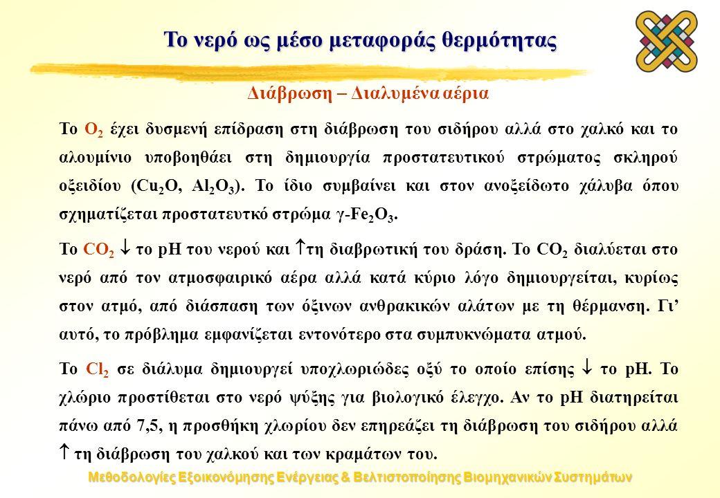 Μεθοδολογίες Εξοικονόμησης Ενέργειας & Βελτιστοποίησης Βιομηχανικών Συστημάτων Το νερό ως μέσο μεταφοράς θερμότητας Διάβρωση – Διαλυμένα αέρια Το O 2 έχει δυσμενή επίδραση στη διάβρωση του σιδήρου αλλά στο χαλκό και το αλουμίνιο υποβοηθάει στη δημιουργία προστατευτικού στρώματος σκληρού οξειδίου (Cu 2 O, Al 2 O 3 ).