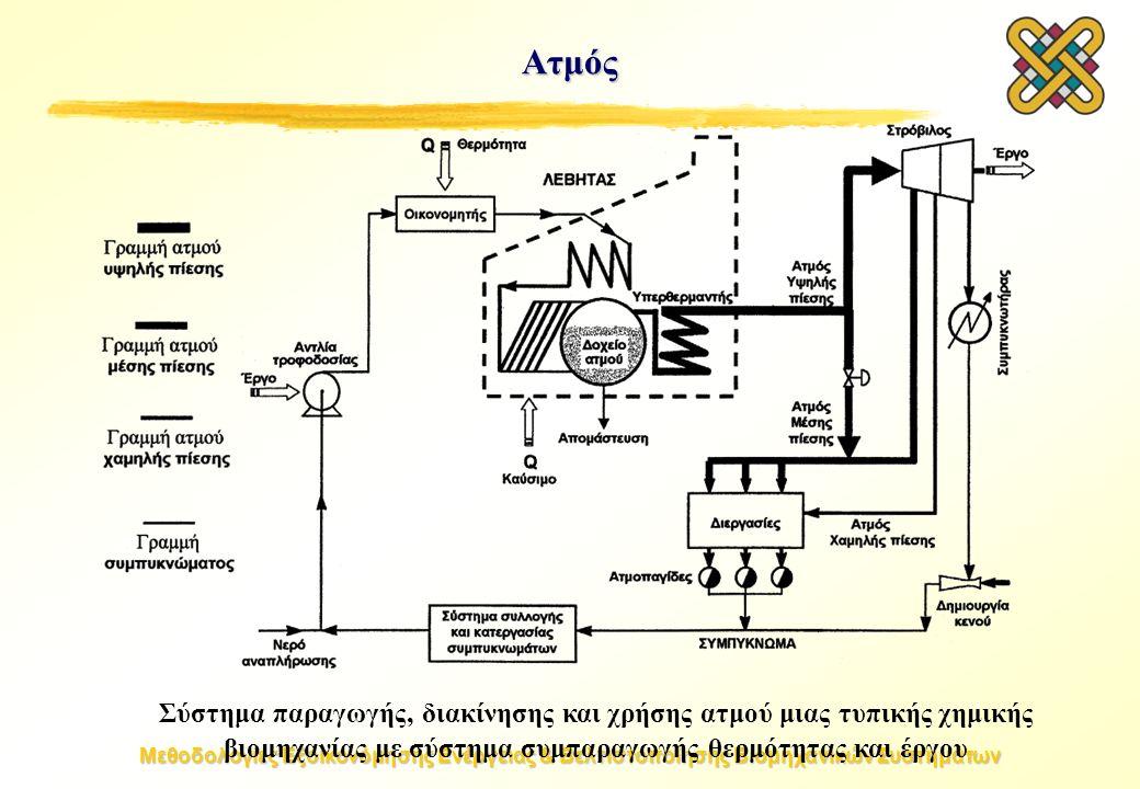 Μεθοδολογίες Εξοικονόμησης Ενέργειας & Βελτιστοποίησης Βιομηχανικών Συστημάτων Ατμός Σύστημα παραγωγής, διακίνησης και χρήσης ατμού μιας τυπικής χημικής βιομηχανίας με σύστημα συμπαραγωγής θερμότητας και έργου