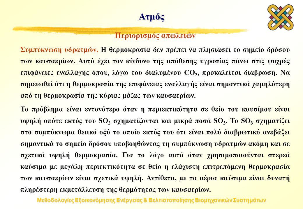 Μεθοδολογίες Εξοικονόμησης Ενέργειας & Βελτιστοποίησης Βιομηχανικών Συστημάτων Ατμός Περιορισμός απωλειών Συμπύκνωση υδρατμών. Η θερμοκρασία δεν πρέπε
