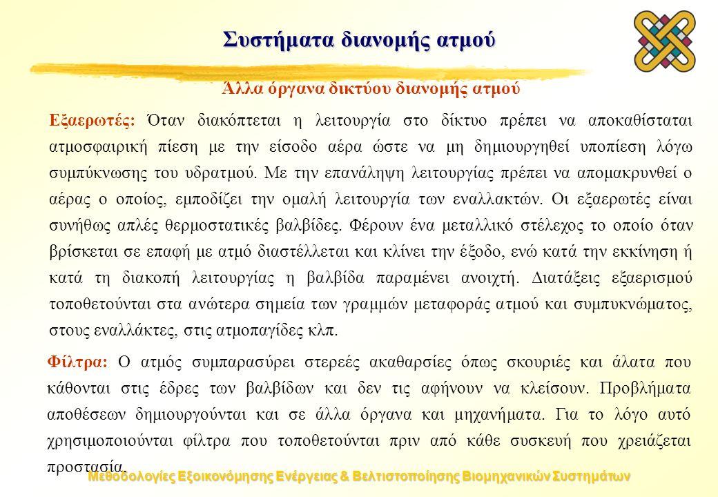 Μεθοδολογίες Εξοικονόμησης Ενέργειας & Βελτιστοποίησης Βιομηχανικών Συστημάτων Συστήματα διανομής ατμού Άλλα όργανα δικτύου διανομής ατμού Εξαερωτές: Όταν διακόπτεται η λειτουργία στο δίκτυο πρέπει να αποκαθίσταται ατμοσφαιρική πίεση με την είσοδο αέρα ώστε να μη δημιουργηθεί υποπίεση λόγω συμπύκνωσης του υδρατμού.