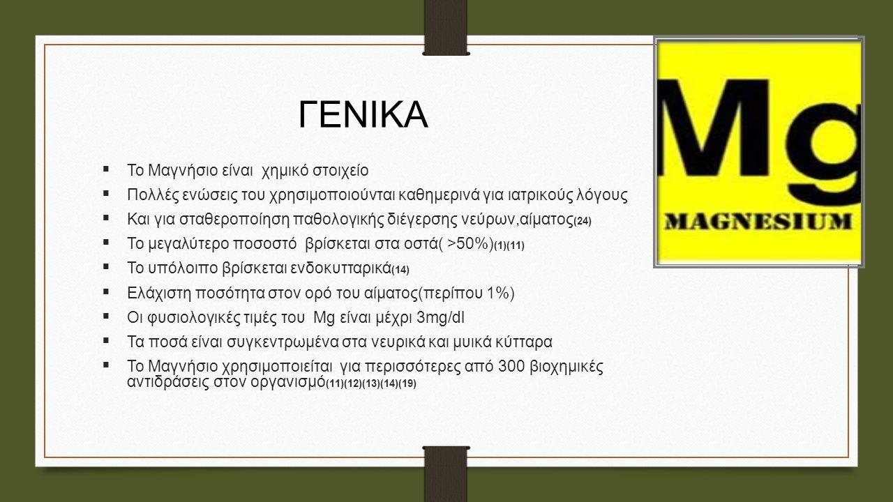 ΓΕΝΙΚΑ  Το Μαγνήσιο είναι χημικό στοιχείο  Πολλές ενώσεις του χρησιμοποιούνται καθημερινά για ιατρικούς λόγους  Και για σταθεροποίηση παθολογικής δ