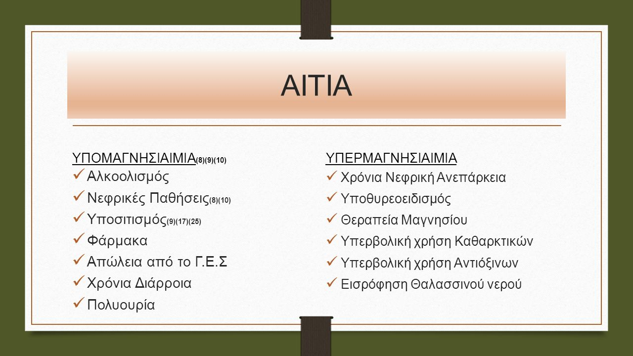 ΑΙΤΙΑ ΥΠΟΜΑΓΝΗΣΙΑΙΜΙΑ (8)(9)(10) Αλκοολισμός Νεφρικές Παθήσεις (8)(10) Υποσιτισμός (9)(17)(25) Φάρμακα Απώλεια από το Γ.Ε.Σ Χρόνια Διάρροια Πολυουρία