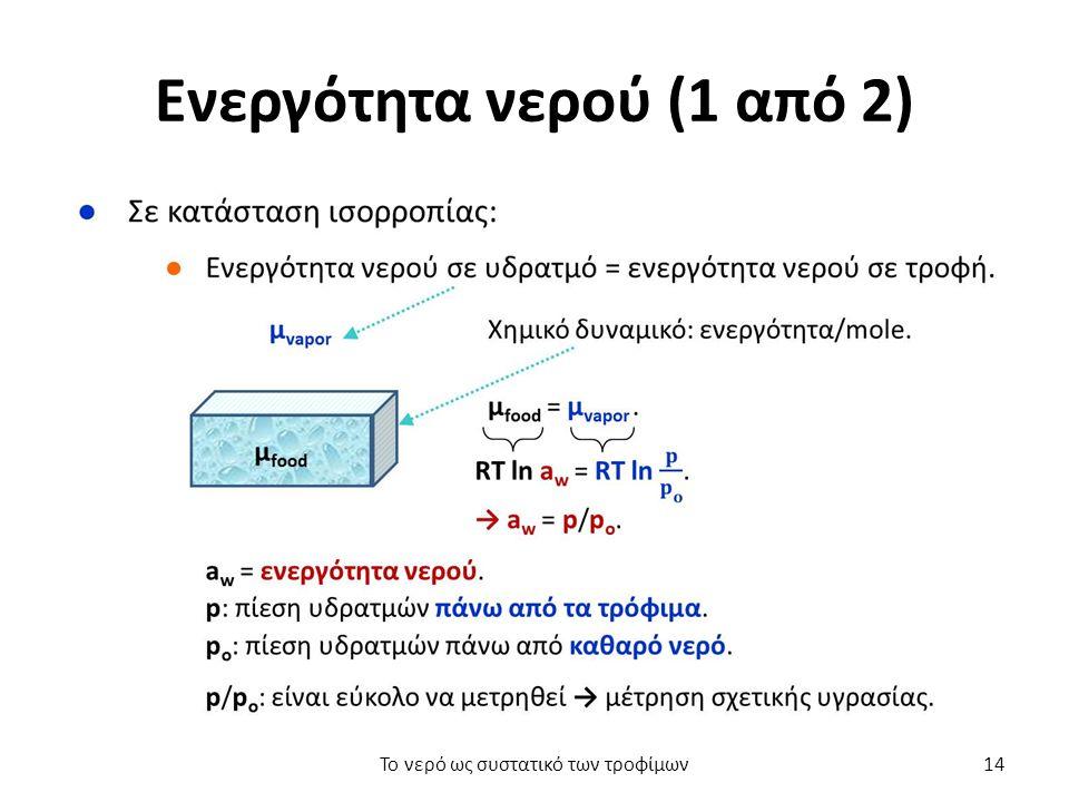 Ενεργότητα νερού (1 από 2) Το νερό ως συστατικό των τροφίμων14