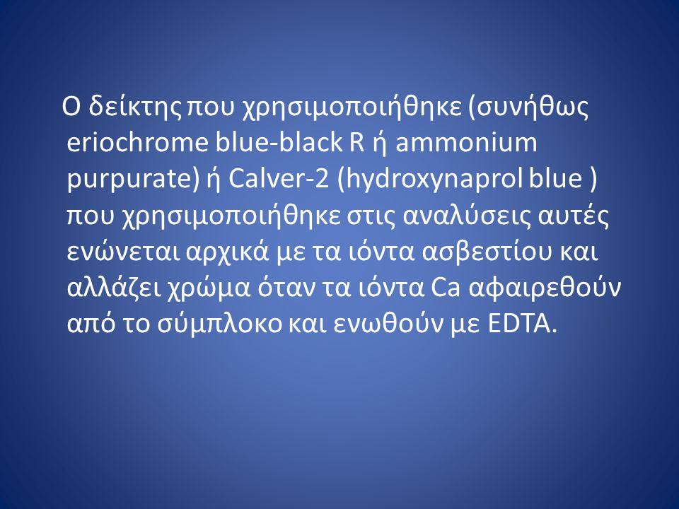Ο δείκτης που χρησιμοποιήθηκε (συνήθως eriochrome blue-black R ή ammonium purpurate) ή Calver-2 (hydroxynaprol blue ) που χρησιμοποιήθηκε στις αναλύσεις αυτές ενώνεται αρχικά με τα ιόντα ασβεστίου και αλλάζει χρώμα όταν τα ιόντα Ca αφαιρεθούν από το σύμπλοκο και ενωθούν με EDTA.