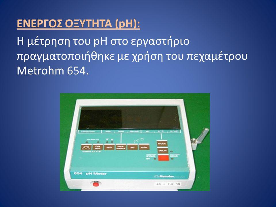 ΕΝΕΡΓΟΣ ΟΞΥΤΗΤΑ (pH): Η μέτρηση του pH στο εργαστήριο πραγματοποιήθηκε με χρήση του πεχαμέτρου Metrohm 654.